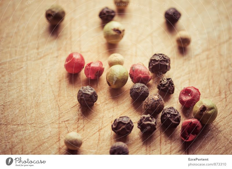 pepper Food Herbs and spices Nutrition Environment Nature Wood Green Red Black White Many Grain Peppercorn Multicoloured Chopping board Tangy Spicy