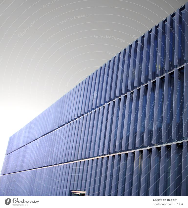 building Disk Slat blinds Lamella Shadow Across Length Rectangle Anthracite Blue Black Building Manmade structures Line Modern Architecture