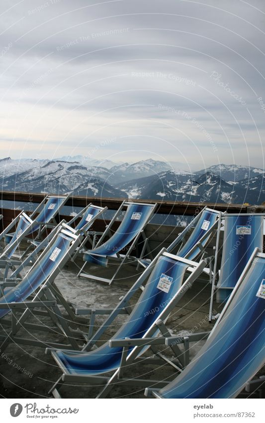 Sky Vacation & Travel Relaxation Calm Far-off places Window Mountain Snow Building Gray Weather Vantage point Large Peak Chair Alps