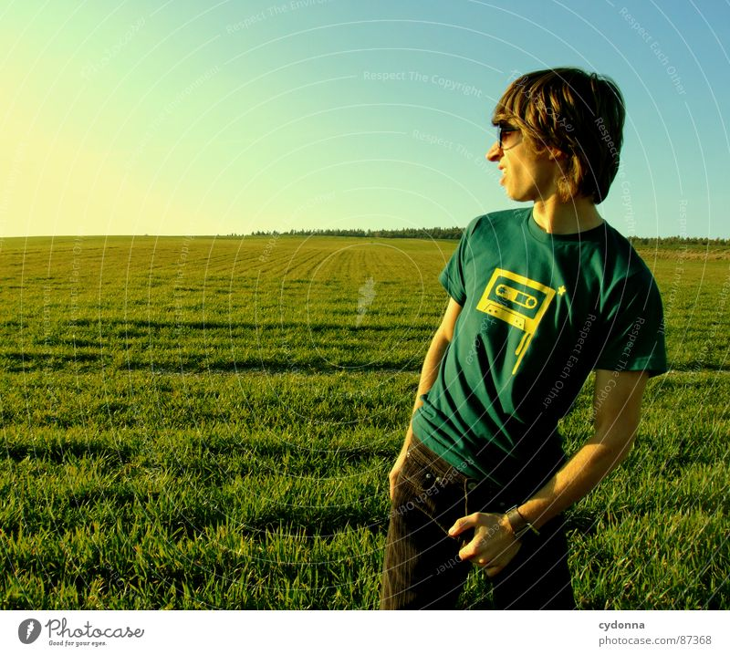 Human being Sky Nature Green Sun Joy Landscape Meadow Emotions Freedom Grass Style Fashion Posture Blade of grass Sunglasses