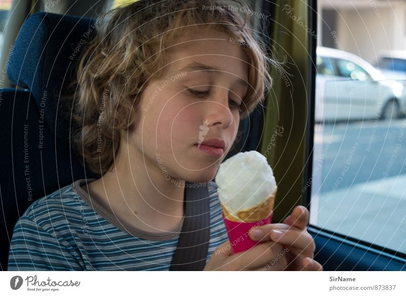 282 [Eating ice cream in car] Food Ice cream Candy Lifestyle Boy (child) Infancy 1 Human being 8 - 13 years Child Town Motoring Car T-shirt Curl Touch