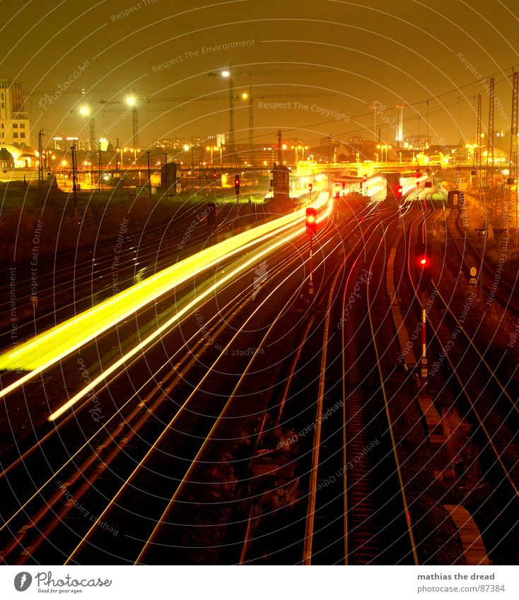 spacetrain Town Commuter trains Railroad tracks Night Light Lamp Dark Crane Construction site Warschauer Straße Station Long exposure Red Platform Downtown