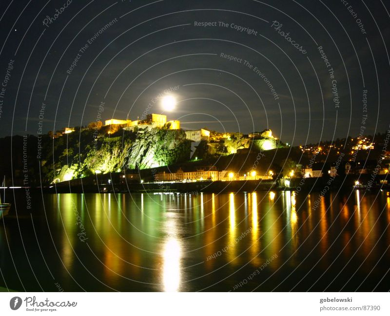 Ehrenbreitstein at night Koblenz Germany Rhineland-Palatinate Night Exposure Long Light Army Monument Glimmer Mosel (wine-growing area) Electricity Refraction