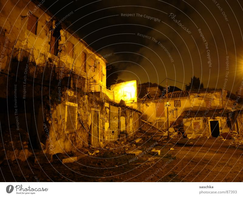 Night Loneliness Dark Sadness Wall (barrier) Moody Poverty Farm Derelict Lisbon Interior courtyard