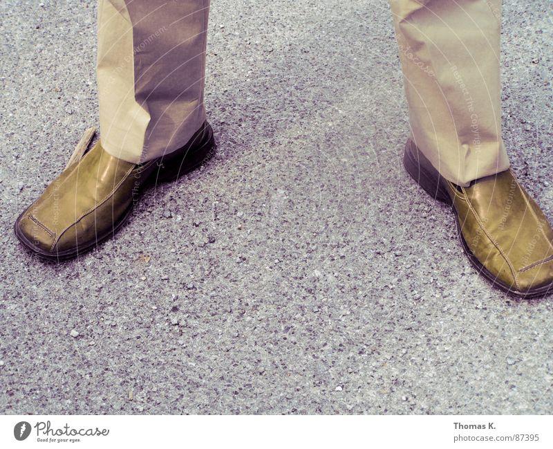 Try walking in my shoes Wrinkles Crease Split Suit Footwear Brown Pavement Workwear Shadow Grit Surface coating Working clothes Asphalt Gravel