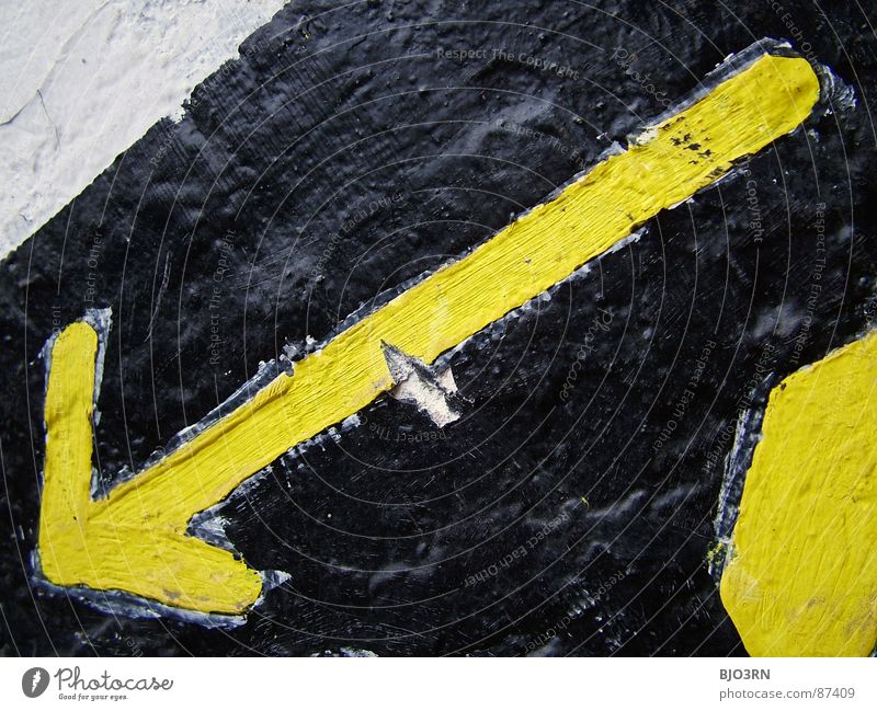 Black Yellow Colour Signs and labeling Broken Industrial Photography Under Arrow Direction Ruin Crack & Rip & Tear Downward Horizontal Descent Landscape format Negative