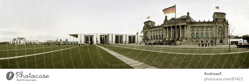 ...if I were King of Germany... Federal Chancellery Government Seat of government Berlin zoo Flag Wait Meadow Reform Federal Chancellor Historic Panorama (View)