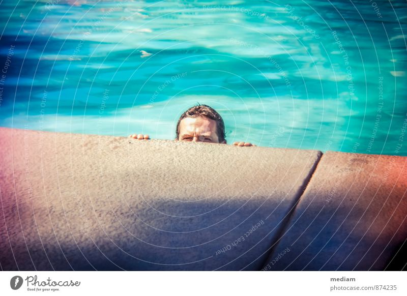 On the lookout Vacation & Travel Summer Swimming pool Swimming & Bathing Human being Masculine Young man Youth (Young adults) Man Adults Head 1 18 - 30 years