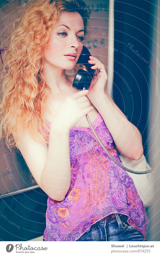 How are you? Flirt Feminine Young woman Youth (Young adults) 1 Human being 18 - 30 years Adults Hair and hairstyles Red-haired Beautiful Thin Eroticism Pink