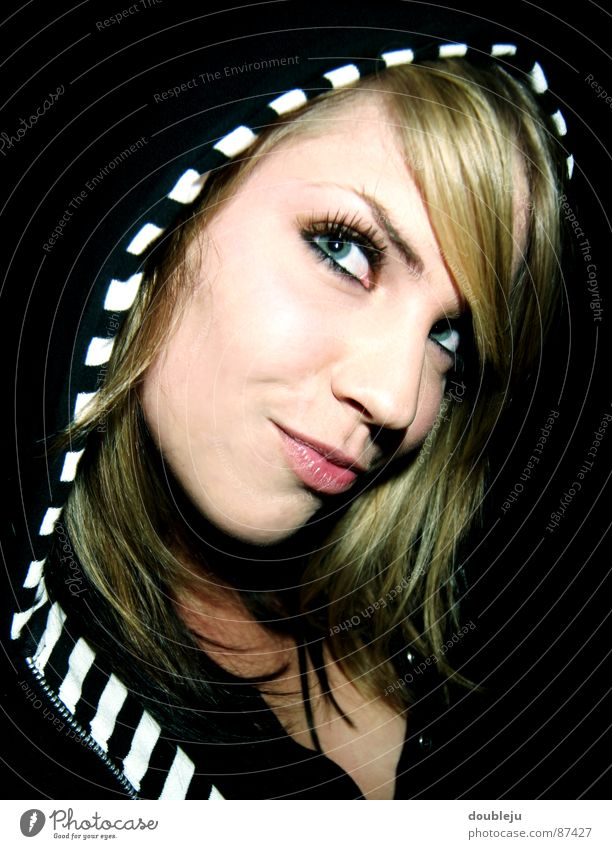 yannica in zebra style Woman Blonde Black Cap Red Lips Beautiful Lady Attractive Hooded (clothing) Eyes Posture Looking Saucer-eyed