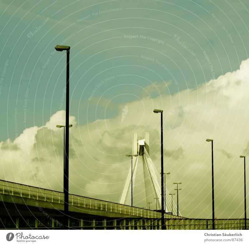 ROAD TO HAEVEN II Clouds Overpass Freeway Speedway race Ludwigshafen Painted Lantern Street lighting Bridge Sky Light Lighting street lamps Pylon