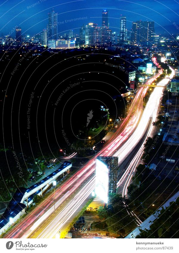 commuting Town Traffic infrastructure Highway commutting night lights road cars slow shutter buildings