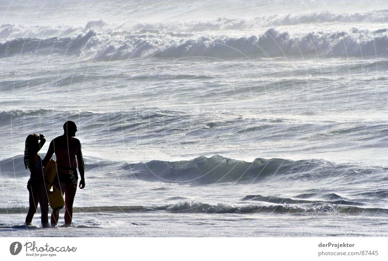 Woman Water Ocean Couple Waves In pairs Stand Swimming & Bathing Idyll Surf Portugal September