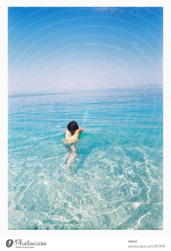 Woman Water Sky Ocean Summer Wet Back Croatia Mediterranean sea