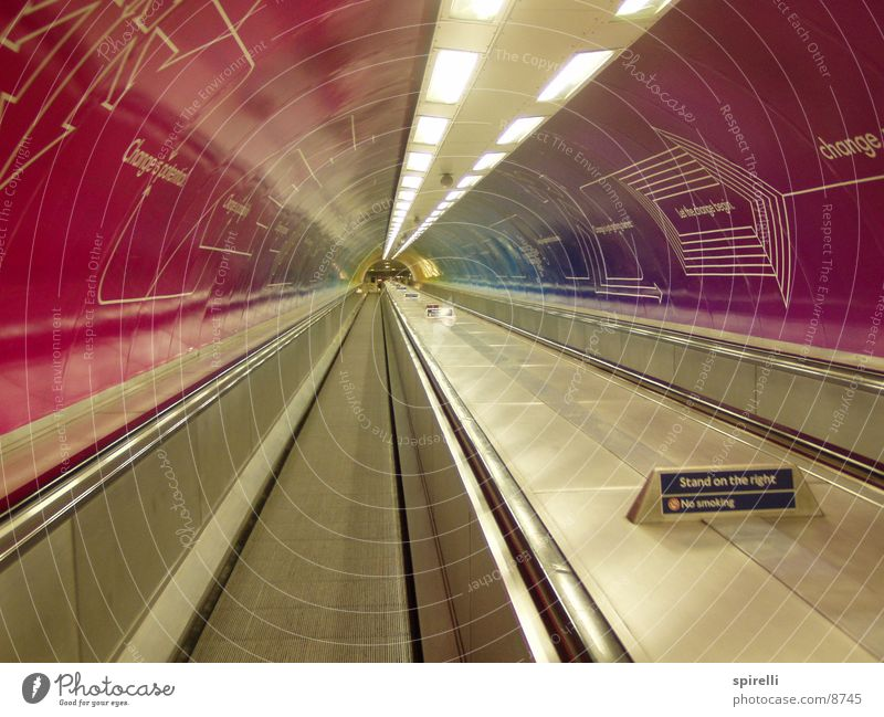 travolator London Tunnel Advertising Pink Escalator Underground London Underground Empty Architecture Waterloo Station walkway drive weaving violet Handrail