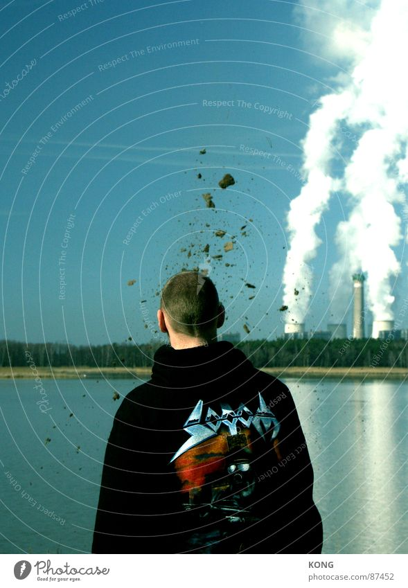 Man Head Dirty Planning Horizon Earth Industrial Photography Transience Obscure Idea Steam Electricity generating station Explosion Sky blue Splinter
