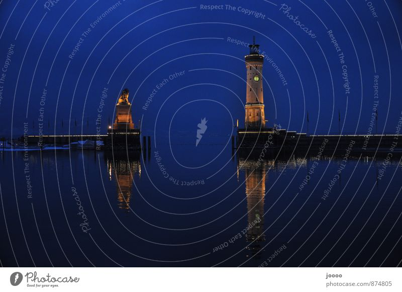 Water Calm Cold Lake Harbour Cloudless sky Landmark Lighthouse Lake Constance