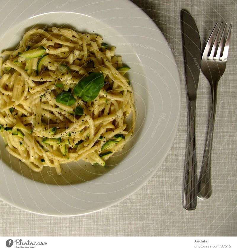 + knife and fork Pasta Noodles Basil Plate Lunch Table Kitchen Delicious Nutrition Meal Dish Appetite Fork Gastronomy Vegetarian diet Zucchini take in food