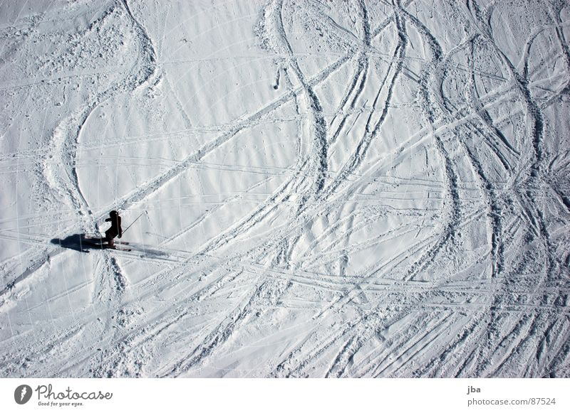 no longer fresh ll Bird's-eye view Virgin snow Powder snow Power Skier Skiing Winter sports snow covered mist Snow Tracks Curve Line Shadow Wavy line
