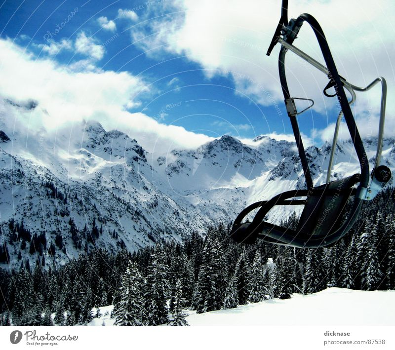 lifted... Exclamation mark Allgäu 5 Sun Fog Clouds Peak Tree Forest Chair lift Sofa March Sports Playing Ju Hu fellhorn obersdorf Kempten in other respects