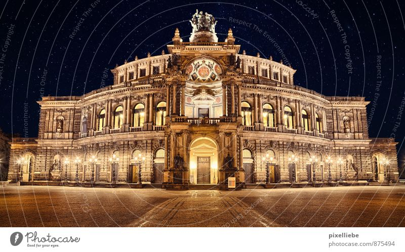 Semper Opera Dresden Elegant Tourism Event Going out Art Architecture Stage play Theatre Culture Opera house Cloudless sky Night sky Stars Capital city Downtown