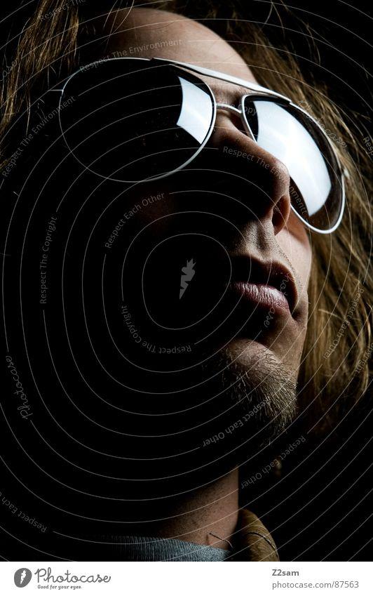 sunshine in my eyes Eyeglasses Sunglasses Aviator goggles Man Blonde Facial hair Portrait photograph Mirror Light Left Dark Far-off places Sublime Style