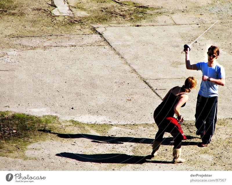 Woman Sun Power Force Asphalt Fight Duel Fencing Sword