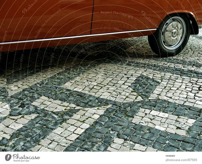 Red Car Orange Transport To hold on Traffic infrastructure Coil Vintage car Slowly Pedestrian precinct