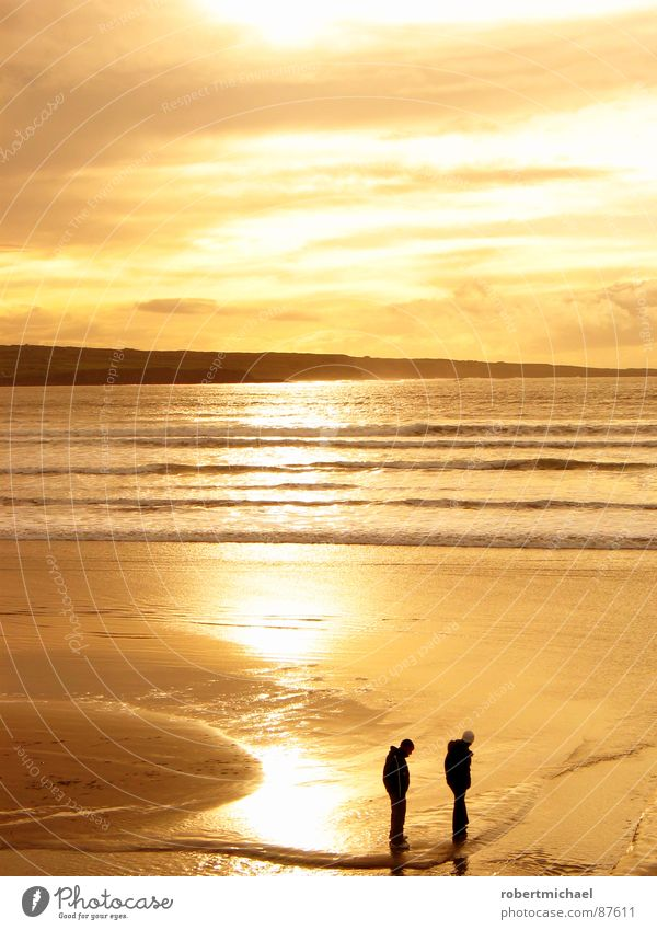 golden beach Promontory Lake Yellow Sunset Sunrise 2 Summer Dream Sky Romance Ocean Horizon Mirror Reflection Surf Waves Sandy beach Low tide Sandbank Brown