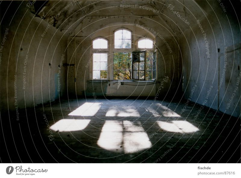 no one left Dark Sunbeam Lighting Window Mystic Ruin Dirty Dust Attic Attic story Sanitarium Derelict Room large window Loneliness Decompose Fear Empty