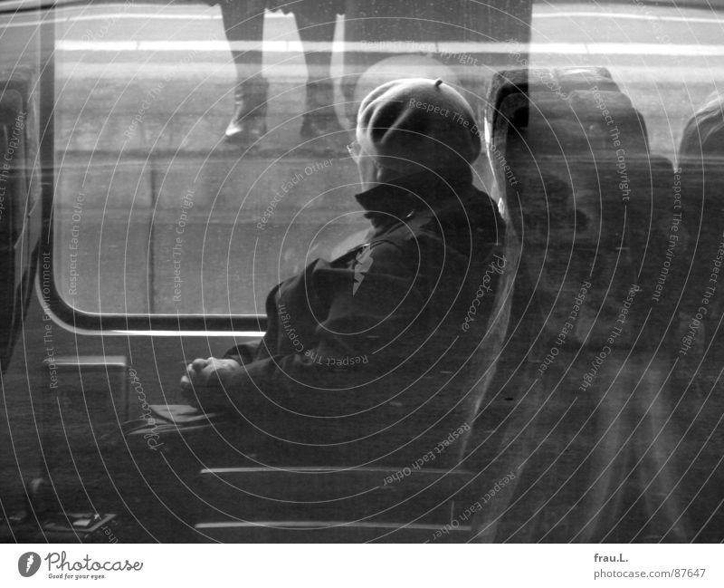 Woman Vacation & Travel Hand Window Senior citizen Legs Transport Sit Stand Wait Observe Railroad Eyeglasses Female senior Cap Boredom