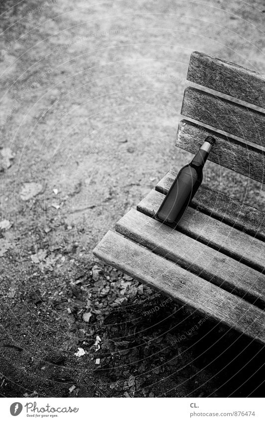 bottle of beer Beverage Drinking Alcoholic drinks Beer Bottle Bench Gloomy Alcoholism Empty Black & white photo Exterior shot Deserted Day