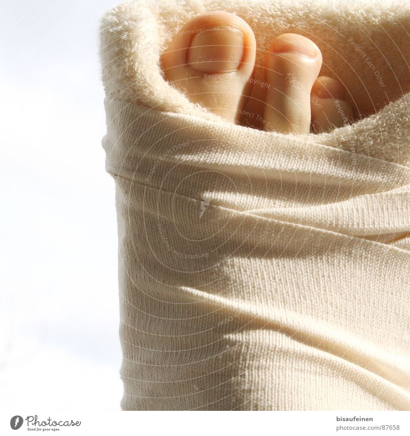 Bagged Services Feet Railroad tracks Illness Protection Patient Calm Broken Toes Toenail Bound binding inhibited from running Written sick be on sick leave