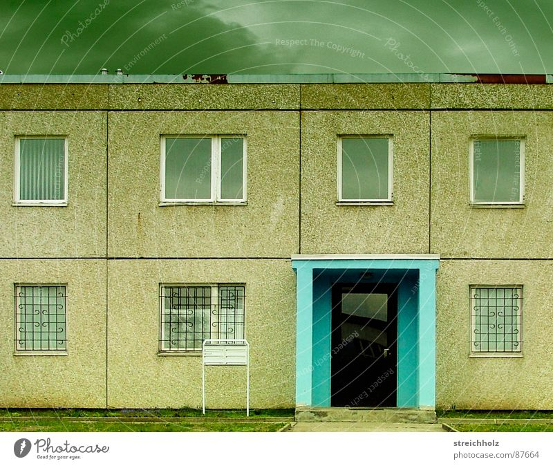 House (Residential Structure) Clouds Window Sadness Fear Architecture Germany Weather Grief Past Entrance Distress GDR Panic Feeble Prefab construction