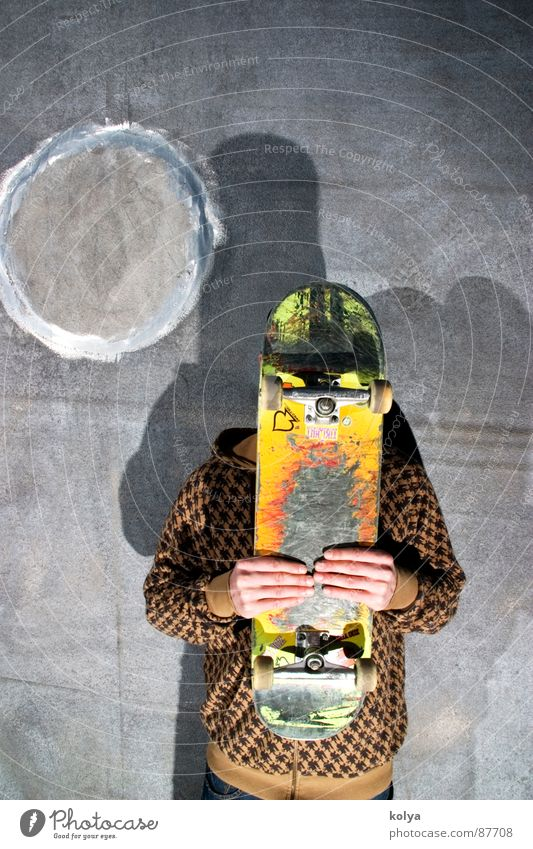 Board in front of head Light Hand Youth (Young adults) skateboard Human being street Shadow Coil bed tone
