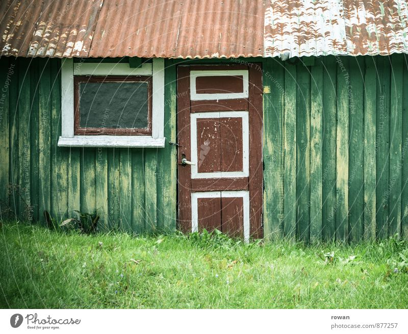 hut Hut Window Door Small Wooden board Wooden hut Norway Corrugated sheet iron Colour photo Subdued colour Copy Space right Copy Space top Copy Space bottom Day