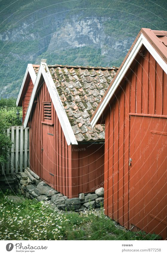 Red House (Residential Structure) Architecture Building Manmade structures Hut Wooden board Tradition Norway Scandinavia Country life Wooden house