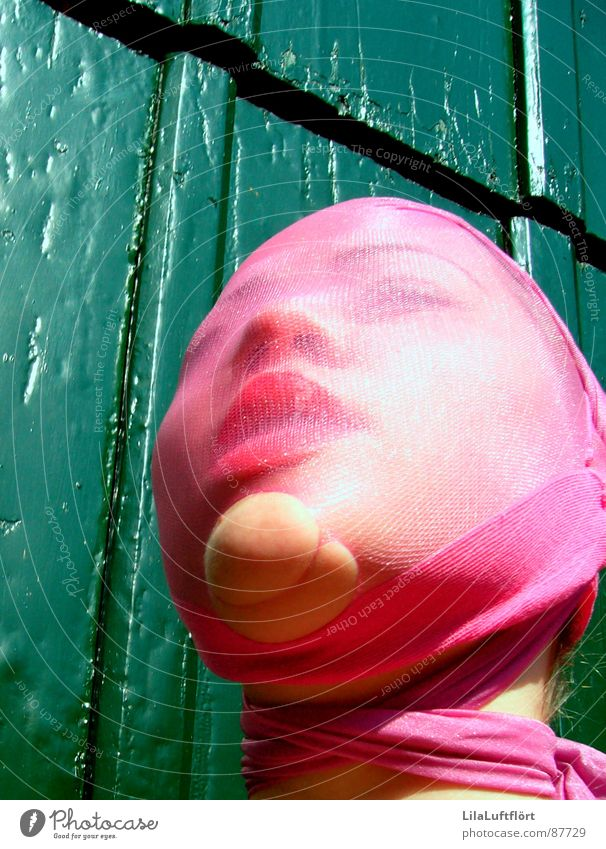 Woman Green Red Wood Pink Lips Doll Narrow Stockings Tights Captured Self portrait Timidity Feeble Insecure Inhibition