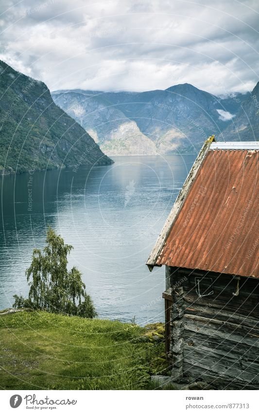 fjord Nature Landscape Weather Beautiful weather Coast Bay Fjord Ocean Dream house Hut Idyll Norway Vacation in Norway Relaxation Vacation & Travel Wooden house
