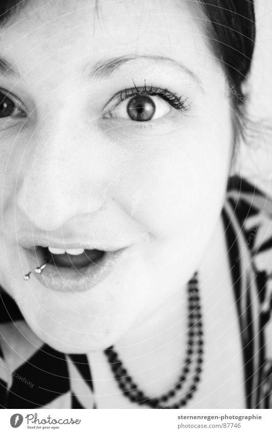 b/w 4 Portrait photograph Woman Piercing Surprise Humor Joy Amazed Marvel Black & white photo Laughter 20-25 Grinning Enthusiasm Teeth Emancipation