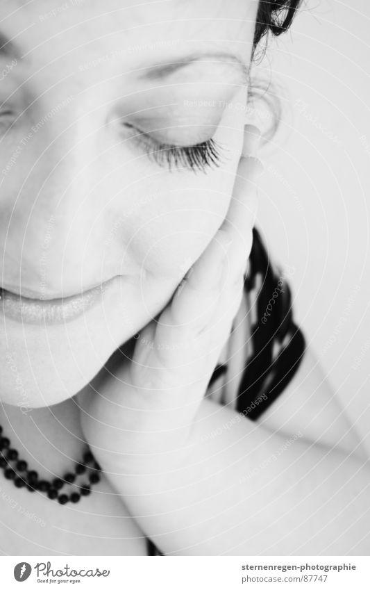 b/w 5 Portrait photograph Hand Fingers Think Caress Pleasant Pensive Lust Happy Woman Black & white photo To enjoy Joy more gourmet Romance Snapshot