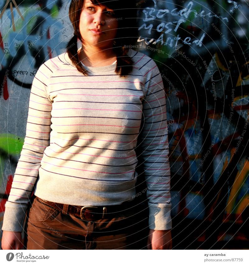 Woman Beautiful Wall (building) Graffiti Modern Stand Young woman Striped Freak Basketball The Ruhr Bochum Sharon