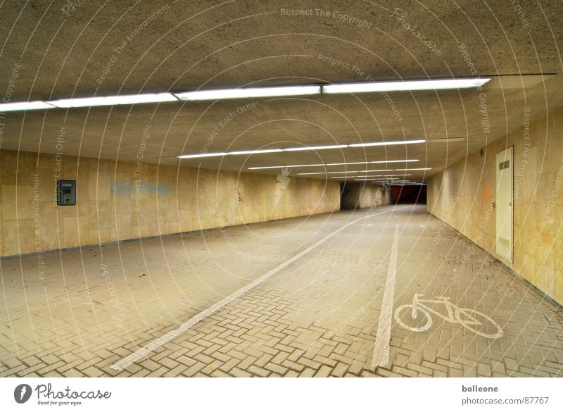 Loneliness Bicycle Going Dangerous Threat Mysterious Tunnel Sidewalk Eerie Underpass Cycle path Mood lighting