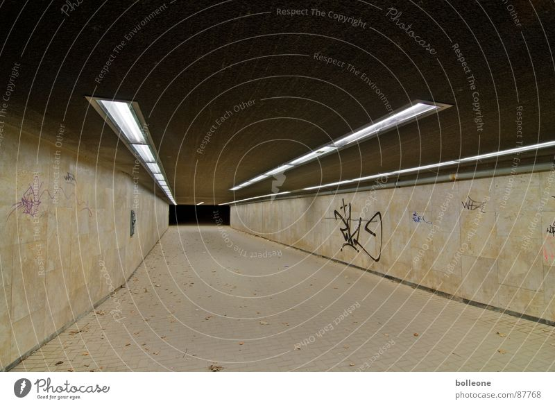 Light Magic II Tunnel Cycle path Eerie Going Threat Mysterious Loneliness Mood lighting Dangerous Graffiti Mural painting Underpass Sidewalk