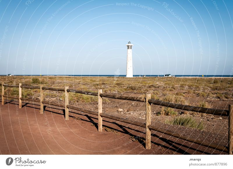 light Vacation & Travel Tourism Trip Freedom Nature Landscape Cloudless sky Horizon Beautiful weather Meadow Coast Fence Lighthouse Warmth Moody Loneliness