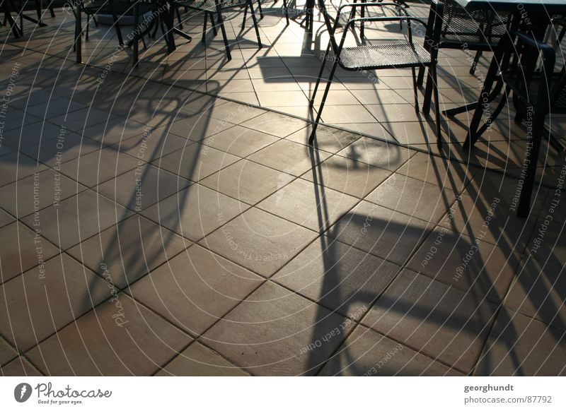 Sun Bright Chair To go for a walk Café Balcony Traffic infrastructure Ease Sunday Refraction Gallery Shadow play Flare Darken Midday sun Sun's reflection