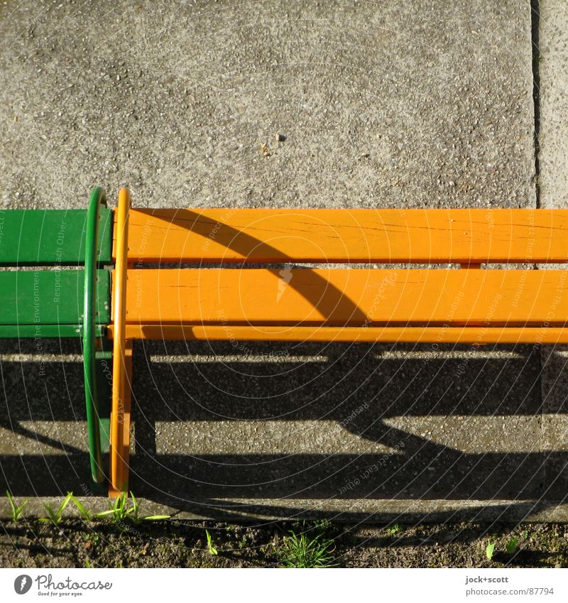 Bench (2) Kindergarten Earth Warmth Grass Places Wood Yellow Green Bracket Subsoil Side Seating Wood strip Ground GDR Shadow play Detail Abstract