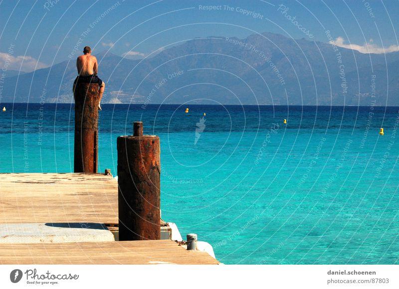 Water Sky Ocean Summer Vacation & Travel Mountain Driving Leisure and hobbies Swimming & Bathing France Sunbathing Beautiful weather Cyan Mediterranean sea Corsica