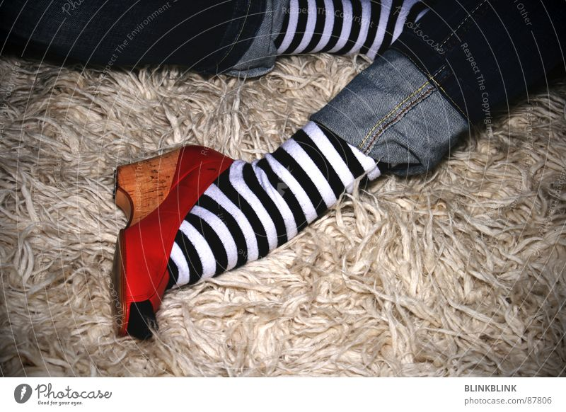 Woman White Blue Red Black Relaxation Style Footwear Clothing Sit Jeans Floor covering Stripe Living room Stockings