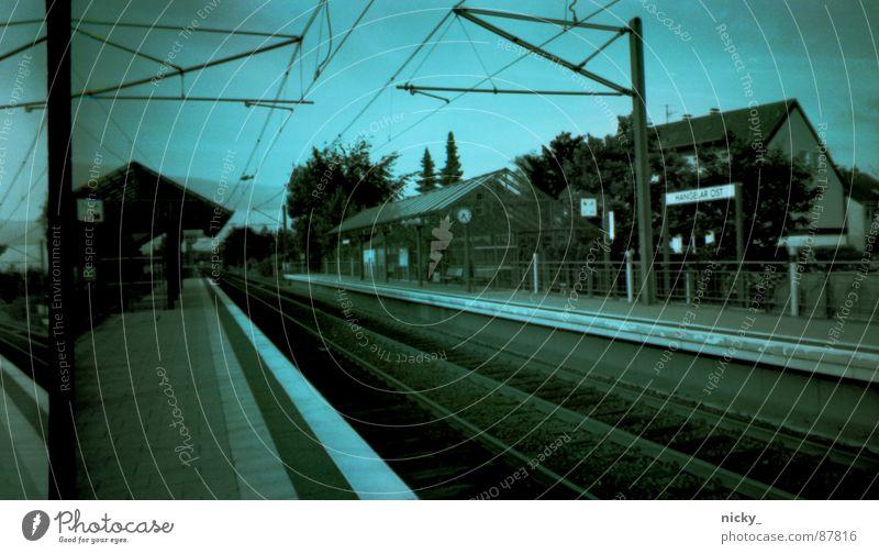 Sky Green Black Railroad tracks Station Train station Nostalgia Tram Negative